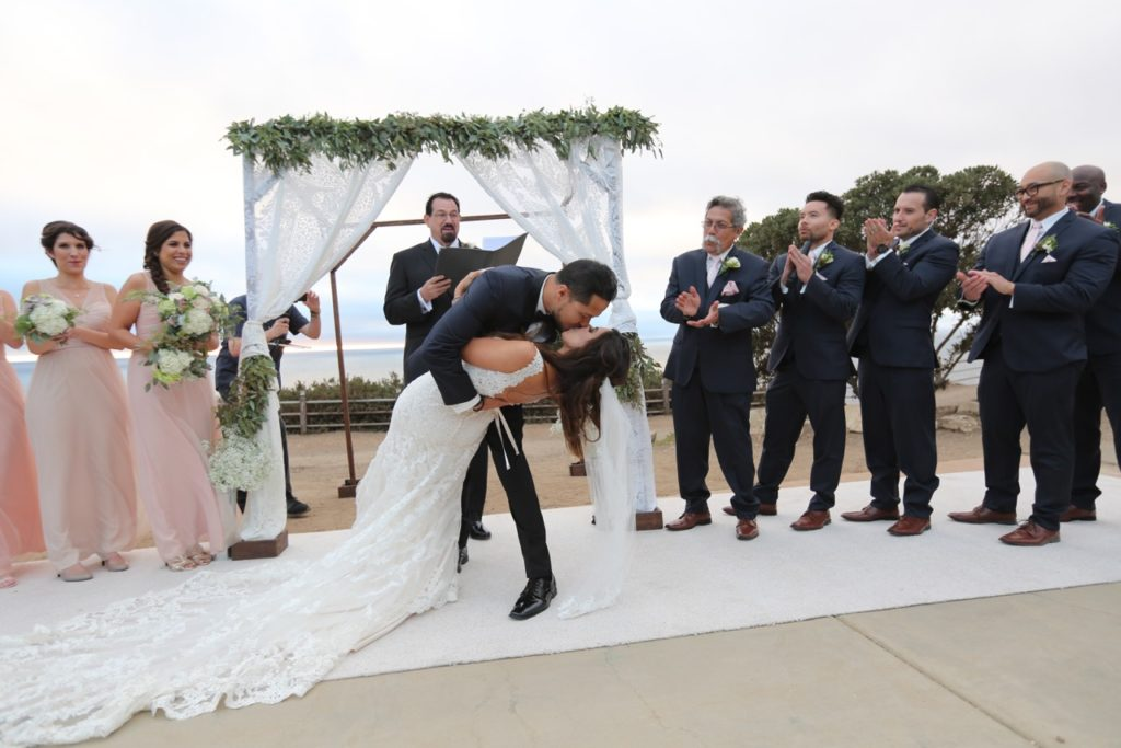 Wedding chuppah with lace and garland Palos Verdes